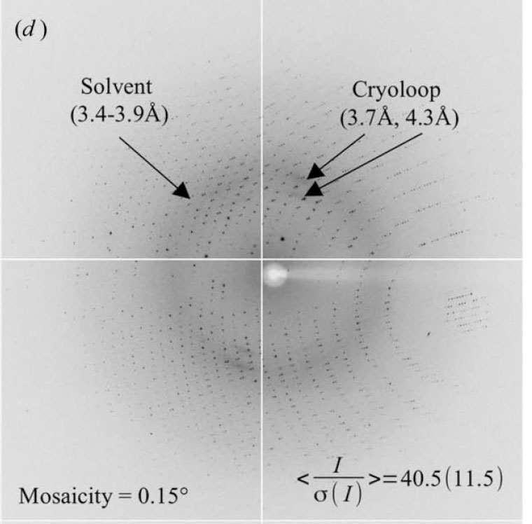 Diffraction from a crystal wrapped in five-layer graphene and then directly flash-cooled in liquid nitrogen before diffraction